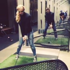 "Click through!!  ""this is what we do on our lunch break on Supernatural we dress like twins and go golfing #jensenackles"" (from Instagram)"