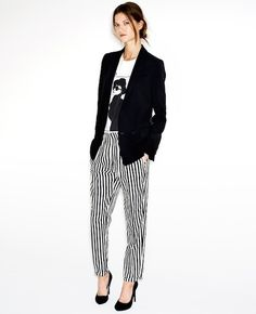 Striped pant with graphic tee and blazer for Casual Friday