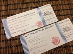 Vintage Air Mail Boarding Pass Invitation