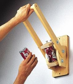 19-W799 - Wall Mounted Can Crusher Woodworking Plan. #woodworking