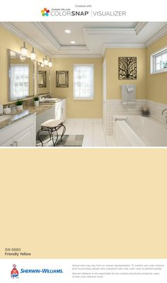 Do You Know How to Select the Best Wall Color for Your Kitchen     I found this color with ColorSnap     Visualizer for iPhone by  Sherwin Williams  Friendly Yellow  SW 6680