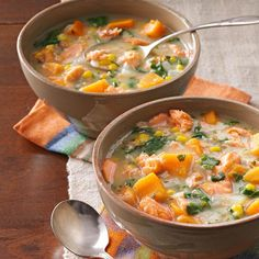 Veggie Salmon Chowder -This salmon chowder recipe came about as a way to use up odds and ends in my fridge. I thought other readers might enjoy a soup that began as an experiment but became a mainstay for me. Best Soup Recipes, Chowder Recipes, Sweet Potato Recipes, Healthy Soup Recipes, Cooking Recipes, Favorite Recipes, Health Recipes, Healthy Meals, Yummy Recipes