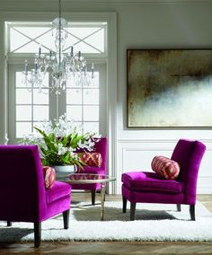 PANTONE Color of the Year 2014 - Radiant Orchid decor Not realistic for my life now, but I lust after these chairs someday...
