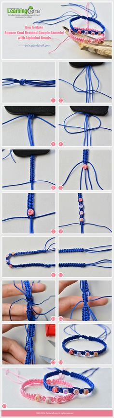 Tutorial on How to Make Square Knot Braided Couple Bracelet with Alphabet Beads from LC.Pandahall.com    #pandahall