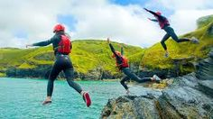Coasteering at its best at a stunning location near Bude, Cornwall with unrivalled scenery, remoteness and abundant wildlife. England Tourism, Bude Cornwall, Camping Cornwall, Local Activities, Tough Mudder, Camping Gifts, Trip Advisor, Surfing, Adventure