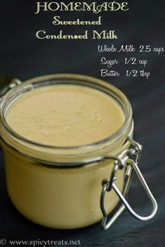Homemade Sweetened Condensed Milk recipe in 2 ways. Easy and Instant method with just 4 ingredients only. How to Make Condensed Milk with Whole Milk. Homemade Sweetened Condensed Milk, Sweet Condensed Milk, Condensed Milk Recipes, Condensed Milk Substitute, Kos, Scones Ingredients, Dessert Recipes, Desserts, Dessert Ideas