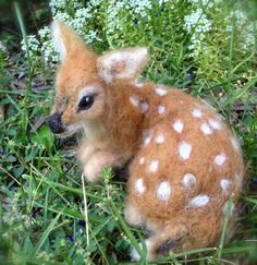Needle Felted Deer Fawn Curled Up Laying Down by ClaudiaMarieFelt, $90.00