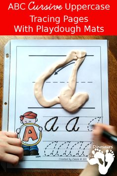 FREE ABC Uppercase Cursive Tracing Pages with Playdough Mats - two types of… Cursive Letters, Tracing Letters, Alphabet Letters, Handwriting Activities, Improve Your Handwriting, Improve Handwriting, Handwriting Worksheets, Handwriting Practice, Alphabet