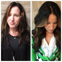 """Watch out! """"Beauty Queen on the Scene!"""" Look at this magical #hairextension transformation. Garnish Hair Studio added some length and volume and popped in some #handpainted #highlights for dimension."""