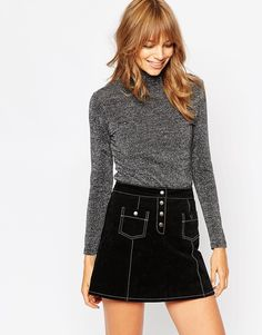 Image 1 of ASOS Metallic Polo Neck with Long Sleeves