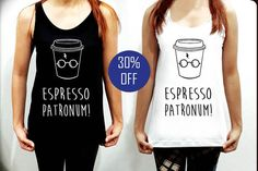 Espresso Patronum Harry Potter Tank Top Shirt  Clothing Women White Black