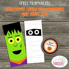 Free Printables! {Halloween Candy Bar Wrappers & Treat Tag} www.dazzleexpressions.com