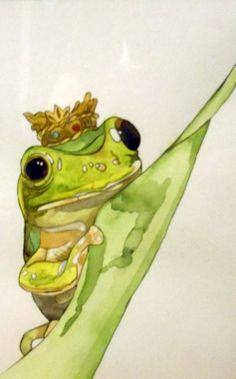 the frog prince by English Rose/ Becky Armstrong Watercolor Animals, Watercolor Art, Cute Animal Clipart, Frog Tattoos, Frog Princess, Frog Art, Cute Frogs, Frog And Toad, English Roses