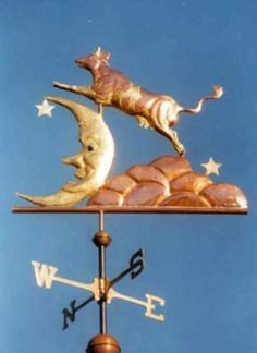 "Cow Jumping Over the Moon Weather Vane by West Coast Weather Vanes.  This Cow Weathervane reflects a children's Nursery Rhyme called ""The Cat and the Fiddle"".  It is perfect for a roof, garden, play house, or inside a child's room."