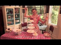 1956 Domestic diva, Mrs Polly Rogers demonstrating how to make an array of Stacked Servers.  She's cute!  Great ideas.