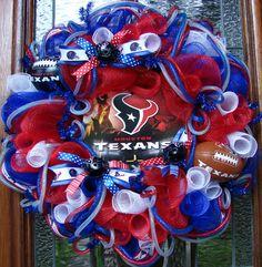 Custom Deco Mesh Houston Texans Wreath by LadybugsWreaths on Etsy, $80.00