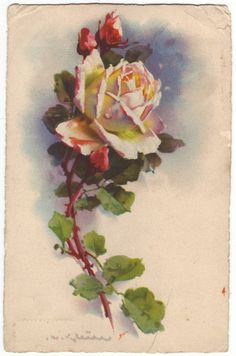 French postcard - Watercolor painting of a yellow rose, fine art floral card - Antique romantic unused postcard - ca 1925 (A273)
