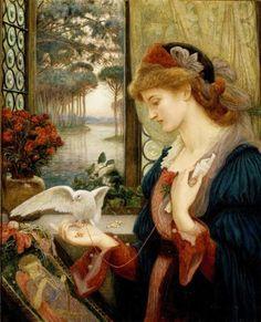 Marie Spartali Stillman (1844-1927, British artist - Greek descent) : Love's Messenger, 1885 . Description from pinterest.com. I searched for this on bing.com/images