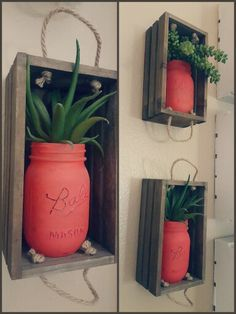 Tiny crate shelves - Mini crates from the Target dollar spot, Mason jars painted with flat acrylic paint, and artificial succulents from Michaels. Mount to wall and done!