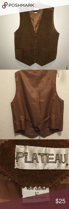 Genuine suede vest Suede vest with snap front and pockets.  A staple in a western wardrobe.  Classic styling. Vintage Suits & Blazers Vests