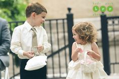 Nothing is cuter than a giggling ring bearer and flower girl