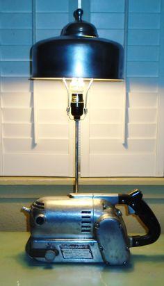 """1940's Porter Cable """"Locomotive"""" belt sander lamp/ J Dooley"""