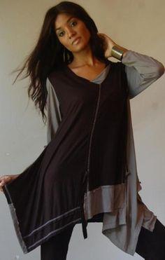 "lagenlook clothing   ... BLACK-GREY/SHIRT-TOP S M L ASYM-LAGENLOOK ""MADE 2 ORDER"" LOTUSTRADERS"