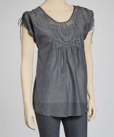 Take a look at this Charcoal Silk-Blend Tie-Sleeve Top on zulily today!