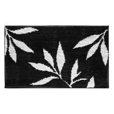 Floral Bath Rug BlackWhite X Perfect For Flower Themes - Black and white floral bath mat for bathroom decorating ideas