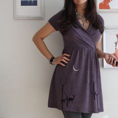 Dusty Purple Dress Screen Printed with my by Zoeslollipop on Etsy
