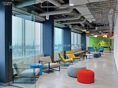 LinkedIn Toronto HQ office, Canada. Seating options in the lounge include…