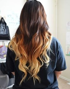 Black brown blond ombre hair