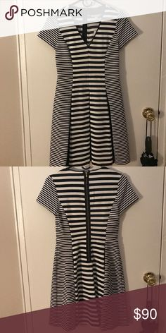 Black and white stripped v neck fit & flare dress V neck dress, fitted at the top and flares out at the hips. Short sleeve and zips up the back Banana Republic Dresses Mini