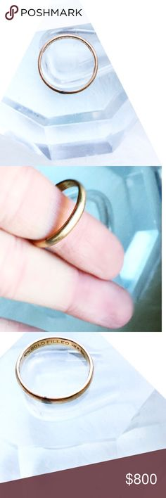 10K GOLD Wedding Band[8] \\tRINITY Squared// Genuine 10K Gold Plated over sterling ::: Unisex ::: Simple + beautiful wedding band ::: Approximately a men's [8] ::: Excellent condition, has mild tarnish [see photos], which can be polished> Estate Accessories Jewelry