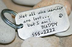 Hand stamped pet tag   Not all who wander are lost...but I am! by iiwiiemporium, $10.00
