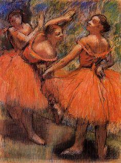 Red Ballet Skirts, Edgar Degas Medium: pastel #balletskirt