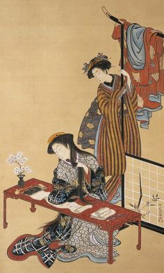 Main detail of a painting featuring two women, one at a writing desk. Hanging scroll, 1772-1789, Japan, by artist Isoda Koryusai.      MFA (William Sturgis Bigelow Collection)