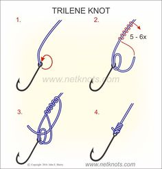 How to tie a Trilene Knot expertly animated, illustrated and described Crappie Fishing Tips, Fishing Rigs, Kayak Fishing, Going Fishing, Fishing Accessories, Camping Accessories, Fishing Line Knots, Fishing World, Fishing Techniques