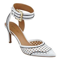 """Our Calypso pointed toe ankle strap heels go ultra-modern with precision-cut laser perforations. Adjustable ankle strap closure. Padded footbed for all-day comfort. Leather upper. Man-made lining and sole. Imported. 3"""" mid heels."""