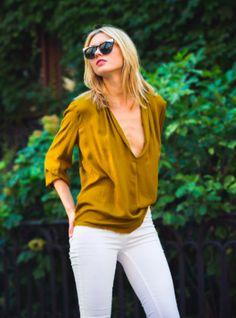 Mustard Flowy Blouse — Isabel Riera Boutique