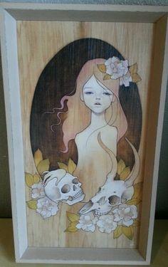 Audrey Kawasaki 'Isabelle' Limited Edition Print on Wood