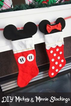 From Disney ornaments and stockings to Disney Christmas trees, the holiday season won't be complete without these DIY Disney decorations that show Mickey, Minnie, and your other favorite characters. Disney Stockings, Disney Christmas Stockings, Baby's First Christmas Stocking, Disney Christmas Decorations, Babies First Christmas, Kids Christmas, Christmas Balls, Disney Christmas Crafts, Nordic Christmas