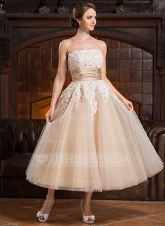Vestidos princesa/ Formato A Sem Alças Comprimento médio Cetim Tule Vestido de noiva com Bordado Apliques de Renda Lantejoulas (002056491)