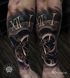 tattoos of clocks and gears and roses - Google Search