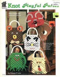 Macrame Pattern Book  KNOT PLAYFUL PURSES  Animals  di KenyonBooks