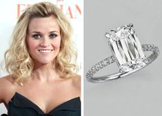 Reese Witherspoon wears a rare four-carat Ashoka diamond engagement ring by William Goldberg. Expensive Wedding Rings, Antique Wedding Rings, Cool Wedding Rings, Celebrity Wedding Rings, Celebrity Weddings, Engagement Ring Photos, Diamond Engagement Rings, Bridal Jewellery Inspiration, Engagement Celebration