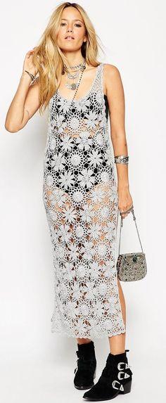 ASOS Premium Hand Crochet Midi Dress In Metallic