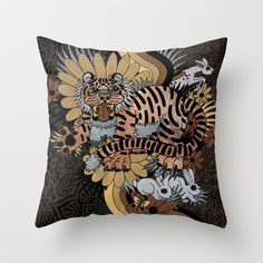 Frolic! (Rework) Throw Pillow by Creative Cat's Studio - Tricia W. Beal - $20.00