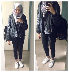 ootd - hijab outfit - bomber jacket lookbook.nu/syaifiena Syaifiena W - H&M Pants, Adidas Sneakers, H&M Cable Knit - Monochrome