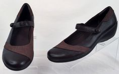 Clarks Bendables 11 medium women's brown leather wedge mary janes ex used #Clarks #MaryJanes
